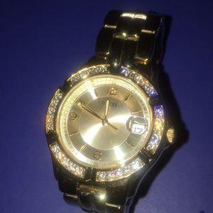 Guess Gold rhinestone waterpro (waterproof) watch